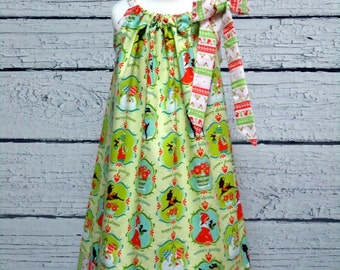 Girls Christmas Pillowcase Dress Alpine Wonderland Green - Size 6-12 month, 12-18 month, 18 - 24 month, 2 / 3, 4 / 5, 6 / 7, 8 / 9