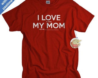Boys Shirts - Custom Tshirts for Kids - I Love My Mom Custom T-Shirts for Boys Girls Children