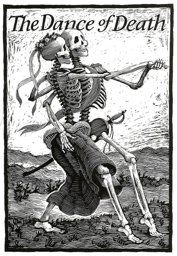 The Dance of Death -Skeleton Print for Goth, Halloween wedding party, Day of the Dead
