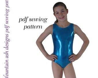 Leotards 1 pattern gymnastics gym ballet dance girls pdf sewing pattern sizes 2-14