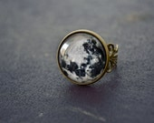 full moon ring Gothic twilight jewelry universe galaxy space astronomy moonchild Victorian ring