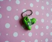 Dead Inside Green Heart with Teeth Bite Polymer Clay Zombie Walking Dead Halloween Monster Conversation Heart Charm Keychain Gift Ooak