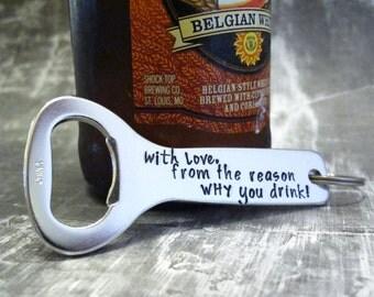 Beer Opener, Personalized Bottle Opener, Gift for Boyfriend, Keychain -Dad-Husband, Gift for Beer Drinker