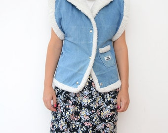 Vintage women denim vest wool lining