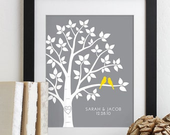 Wedding Gift for Couples Gift for Her Him, Personalized Anniversary Gift Engagement Newlywed Love Birds Wedding Family Tree Art Print