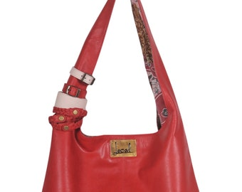 SERENDIPITY. Red leather shoulder bag / red leather tote bag / simple leather bag / leather purse. Available in different leather color.