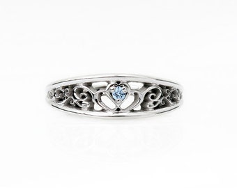 Aquamarine ring, White gold, wedding band, filigree, Aquamarine wedding,  blue wedding band,  blue filigree