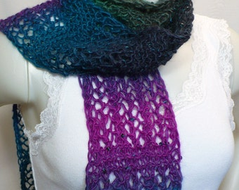 Woman's Hand Knit Lace Scarf with Sequins - Teal Green and Orchid Scarf, Fashion Scarf, Handmade in the USA,Ready to Ship