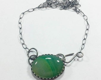 Green Agate Pendant on Sterling Silver Chain, agate necklace, silver necklace, green agate necklace, silver chain, sterling silver necklace