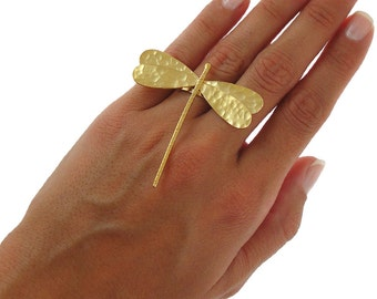 Gold dragonfly ring, insect jewelry, sterling silver ring for women, chunky ring, big ring, dragonfly jewelry, fairy jewelry, statement ring