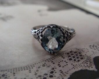 Charming Sterling Silver Sky Blue Topaz Ring  Size  5.5 Art Deco design