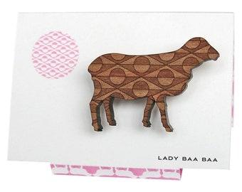 Lady Baa Baa - Art Deco Engraved Sheep Brooch
