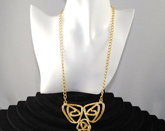 Vintage Gold Toned Statement Necklace Pendant 1960s Runway Necklace