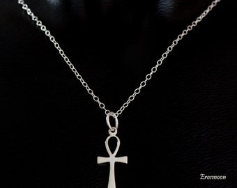 Sterling Silver Ankh necklace and pendant with sterling silver chain