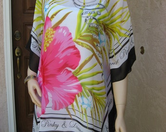Hibiscus Swimsuit  Coverup,  Flower Tunic,  Womens Blouse,  Caftan