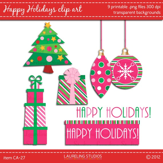 modern christmas clip art in pink and green by ...