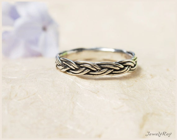 braided ring thin silver ring silver thumb ring by jewellray