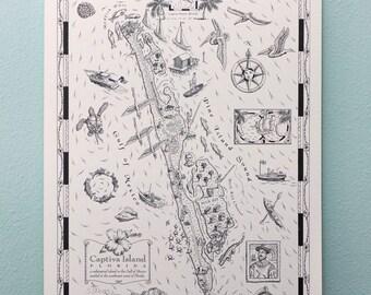 Captiva Island Map Art Print Coastal Wall Art 11 x 14
