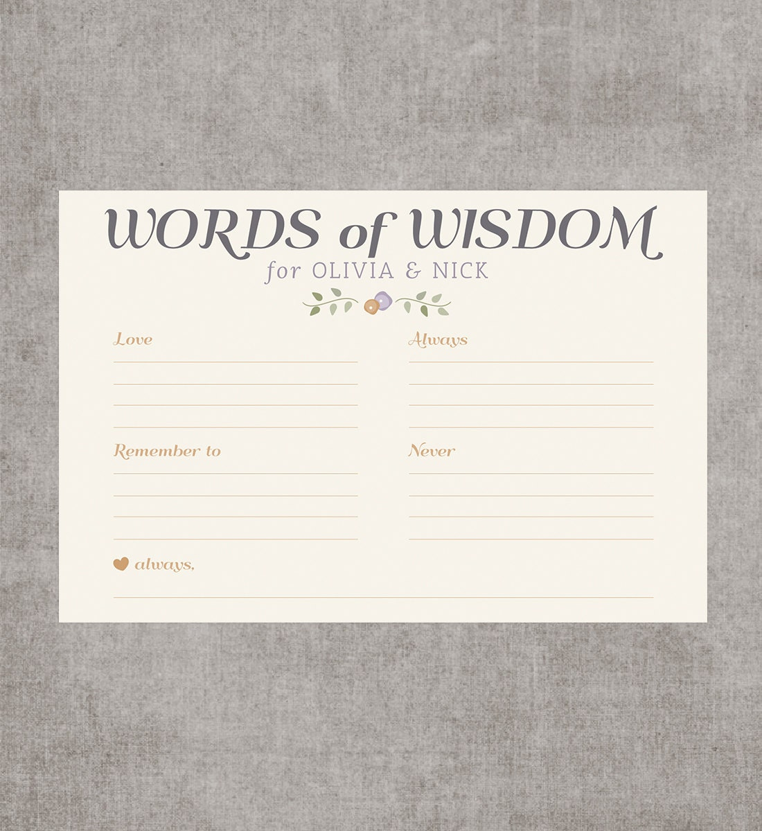 Printable Bridal Shower Words Of Wisdom Game By