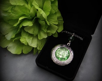 Swarovski crystal necklace with Silver Photo Locket
