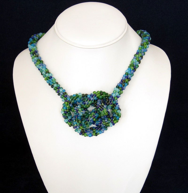 Kumihimo Beaded Statement Necklace with Josephine Knot