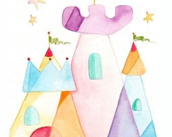 Princess Children's Art - Castle Painting - Princess Baby Decor - Princess Castle Watercolor Print - Kids Wall Art