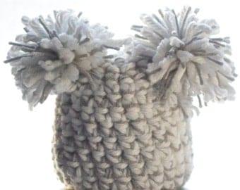 Baby hat- pom pom baby beanie - crochet hat - baby or child - grey and white
