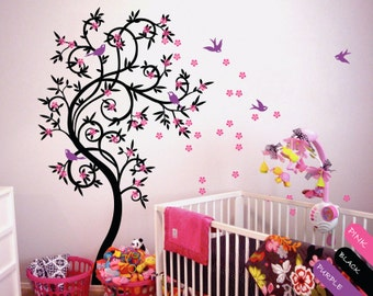 Tree Wall Decal with Birds Leaves and Cute Cherry Blossom Whimsical Baby Room Decor Large Nursery Tree Wall Art Mural tattoo sticker - 040