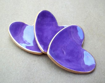 THREE Ceramic Purple Heart Ring Bowls 2 1/2 inches itty bitty