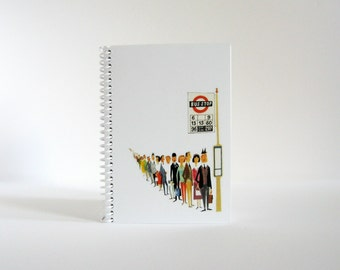 London Bus Stop Queue, Spiral Pocket Notebook, Travel Writing Journal, Spiral Bound, Blank Sketchbook, Small Cute Notebook, Gifts Under 20