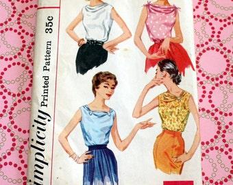 RARE & UNCUT RETRO Vintage Simplicity 1839 Pattern, Blouse - 4 Way Neckline, Size 16 Bust 36