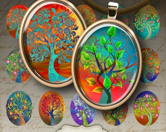 22x30 mm Oval Images MAGICAL TREES Digital Collage Sheet Printable instant download for bezel cabs glass and resin pendants artcult graphics