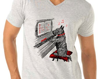 dog shirt - mens tshirts - music shirt - piano shirt - piano gifts - dog lover tshirt - music gifts - music tshirts -NOTEWORTHY sport vneck