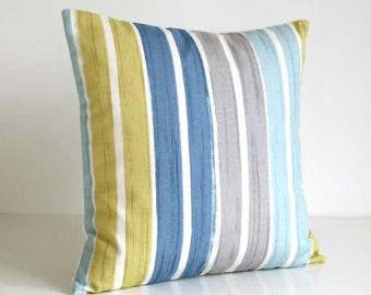 Stripe Pillow Cover, Stripe Cushion Cover, Stripe Pillow Sham, 16 Inch Accent Pillows, 16x16 Pillowcase, Throw Pillow - Brush Stripes Blue
