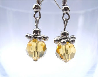 Handmade Citrine Crystal Earrings Gold Crystal Dangling Color Yellow Topaz Light Amber Transparent Faceted Swarovski Element Silver Tone