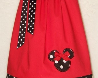 Minnie Mouse Pillowcase Dress / Disney / Mickey / Girly / Girl/ Infant/ Baby / Custom Boutique Clothing / Red / Black / Dots