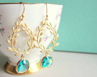 Turquoise Wedding, Gold Earrings, Teal Blue Dangling Earrings, Bride, Bridal Jewelry, Leaf, Bridesmaids Gift, Elegant, Bohemian Chic, Modern