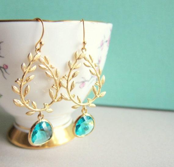 Turquoise Wedding Gold Earrings Blue Dangling Earrings for Bride Bridal Earrings Leaves Elegant Bohemian Chic Drop Dangle Earrings C1 WR