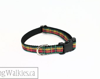 """Buchanan Tartan Dog Collar / 3/4"""" (19mm) Wide / Red, Yellow and Green Plaid / Martingale or Side Release / Choice of collar style and size"""