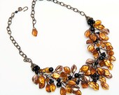 Gold and Black Statement Necklace, Beaded Necklace, Bib Necklace, Autumn Jewelry, Statement Jewelry