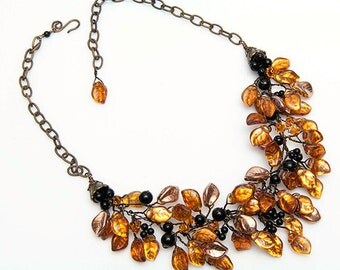Gold and Black Statement Necklace, Gold Beaded Necklace, Gold Bib Necklace, Leaf Statement Necklace, Autumn Jewelry, Statement Jewelry, N325