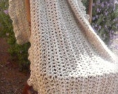 Crochet Throw Blanket in Creamy White, Taupe and Beige