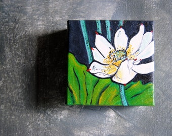 White Water Lily | Original Acrylic Water Lily Painting | On the Pond | Original Art | Wall Decor | Wall Hanging | Home Decor