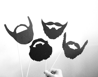 4 Black Beards Photo Booth Props - Beards on a Stick - Photo Booth Props