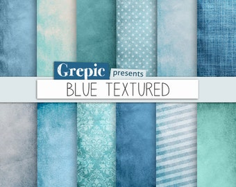"""Blue digital paper: """"BLUE TEXTURED"""" with blue grungy paper, dirty backgrounds, old paper, grunge, teal, turquoise and texture patterns"""