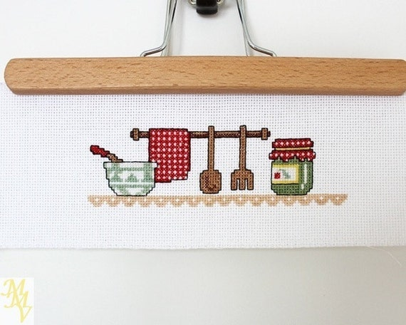 Items similar to vintage decor cross stitch kitchen for Kitchen decor items