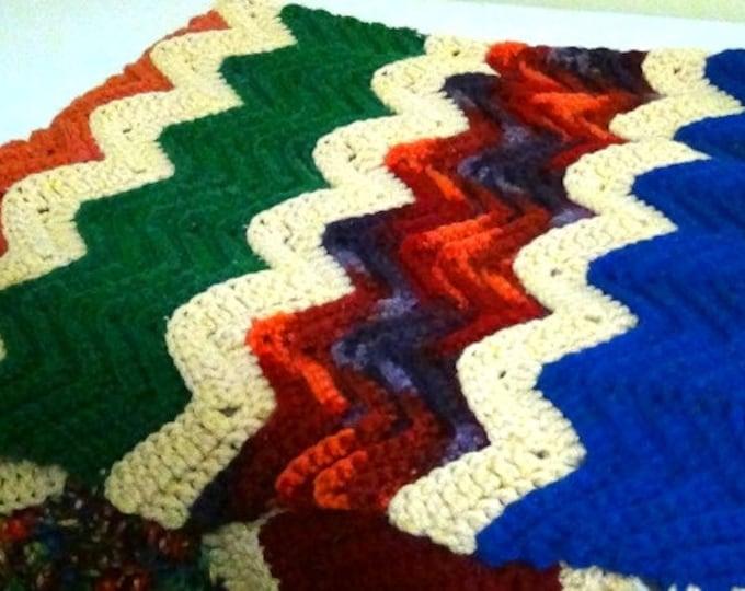 Crochet Ripple Blanket - Ripple Rustic Lapghan - OOAK