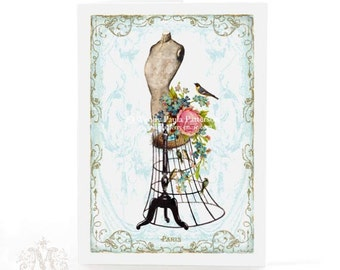 French Mannequin, card, Paris, French vintage, dress form, pink roses, forgetmenots, birds nest, birthday card, blank card, everyday card