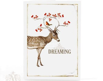Deer, card, Christmas Card, Dreaming of a white Christmas, antlers, red berries, robin, Reindeer, holiday card, winter, woodland