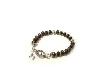 Bronzite Bracelet with Sterling Silver Classic Brown Bracelet - Earthy  B2012-15